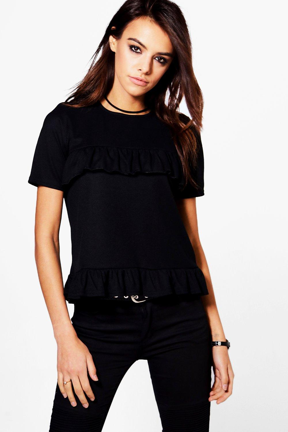 Alice Ruffle Ribbed T-Shirt