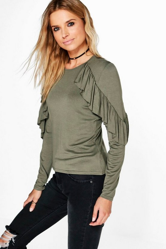 Heidi Ruffle Detail Long Sleeve T-Shirt