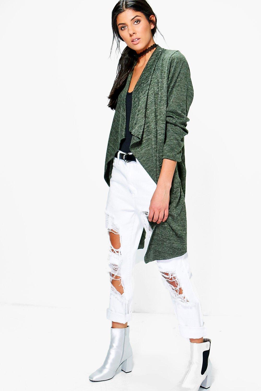 Waterfall Soft Knit Cardigan  khaki