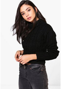 Eva Crop Roll Neck Cable Jumper
