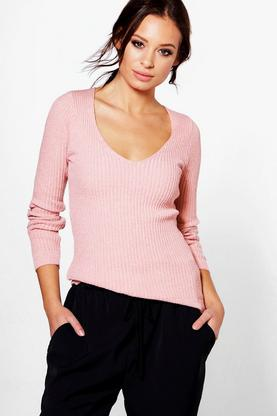 Milly V-Neck Rib Knit Jumper