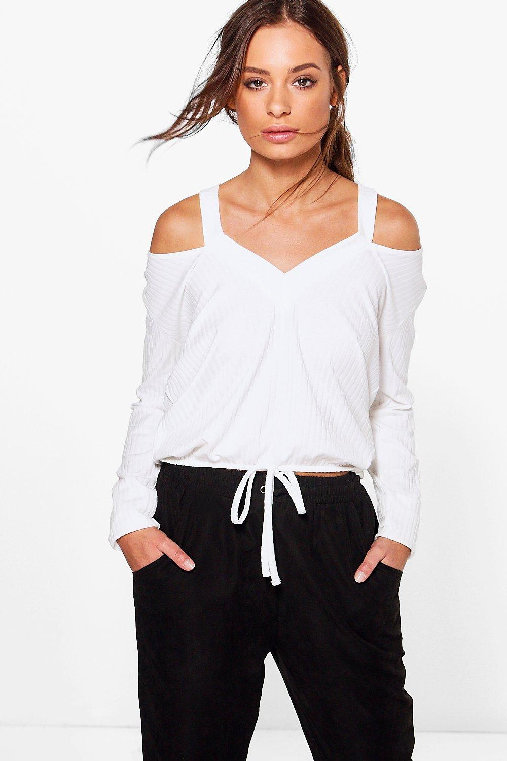 Rosey Rib Cold Shoulder Drawstring Top