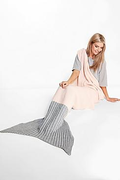 Two Tone Contrast Mermaid Tail Blanket