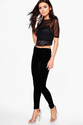 Sybil Velvet High Waist Leggings