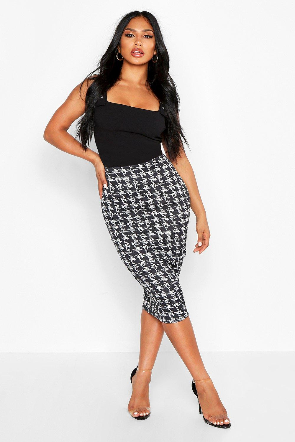 Luana Monochrome Check Midi Skirt