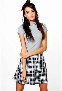 Stacey Monochrome Dogtooth Skater Skirt