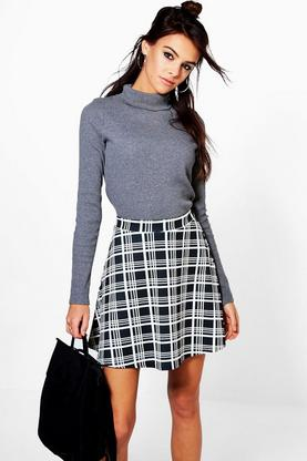 Perrie Monochrome Check Skater Skirt