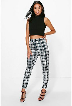 Juana Monochrome Dogtooth Skinny Stretch Trousers