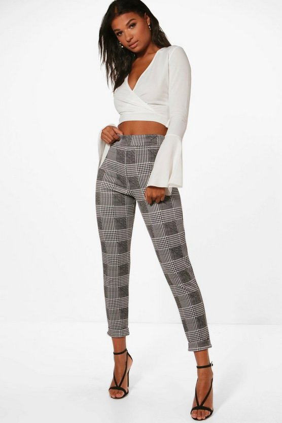 Una Dogtooth Check Skinny Stretch Trousers