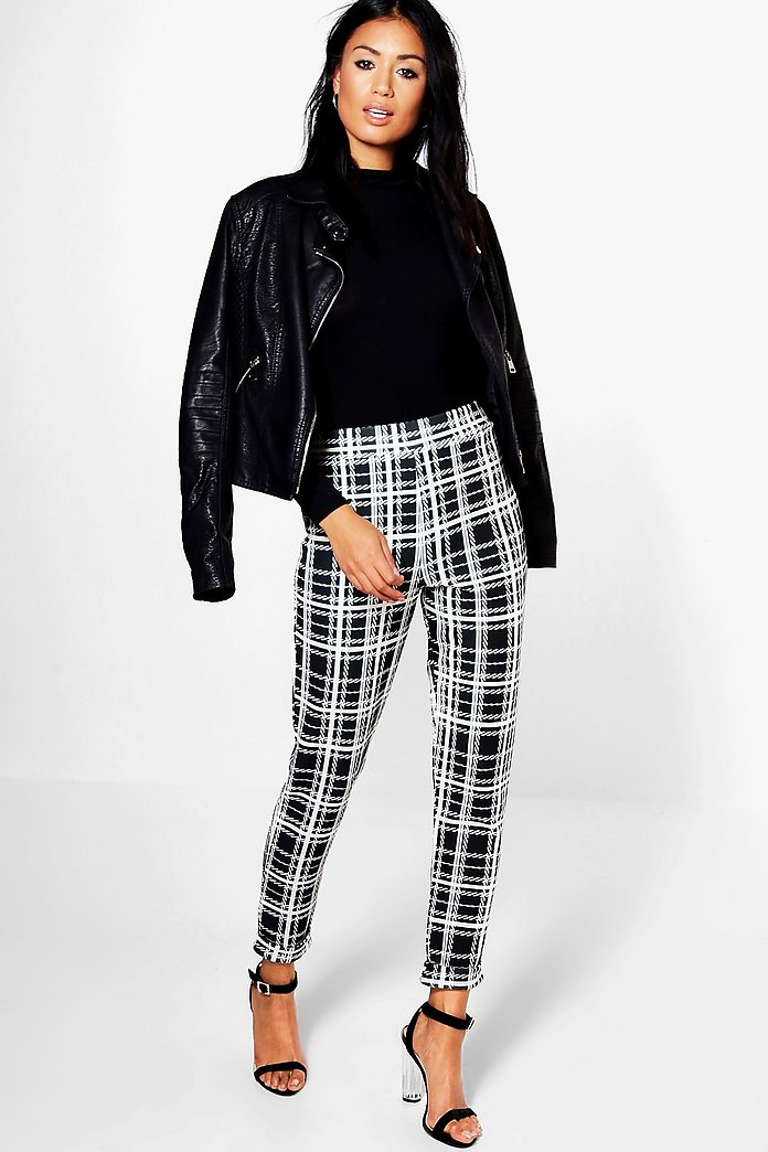 Harper Monochrome Dogtooth Skinny Stretch Trousers