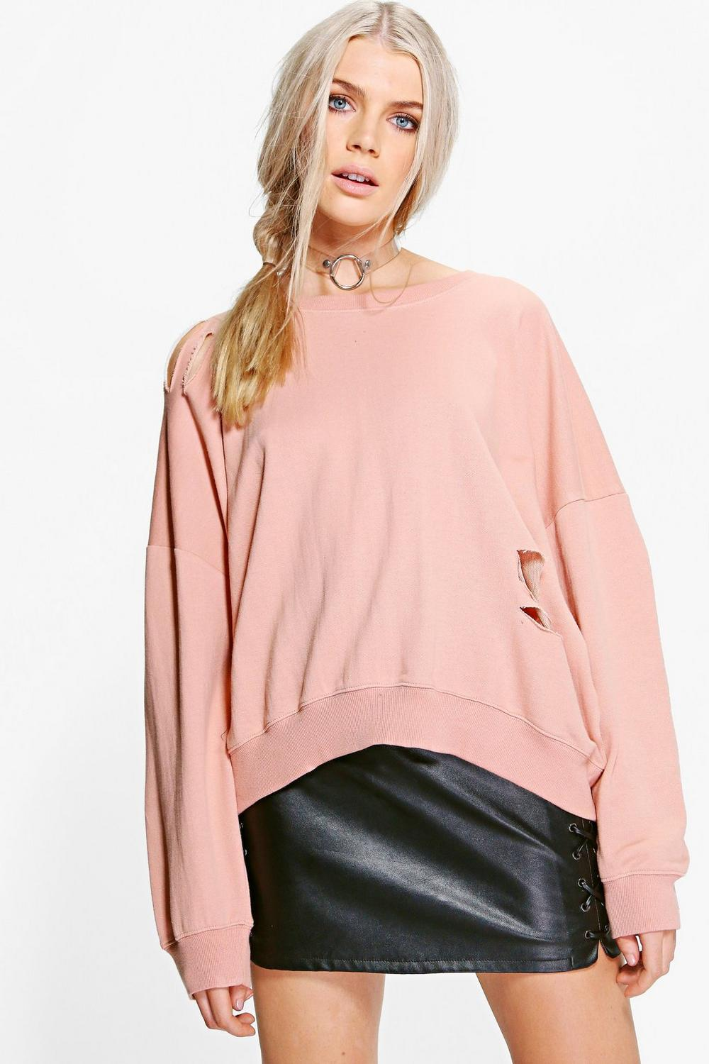 Olivia Oversized Distressed Drop Arm Sweat
