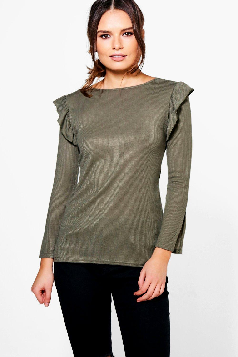 Gabriella Ruffle Shoulder Long Sleeve Top