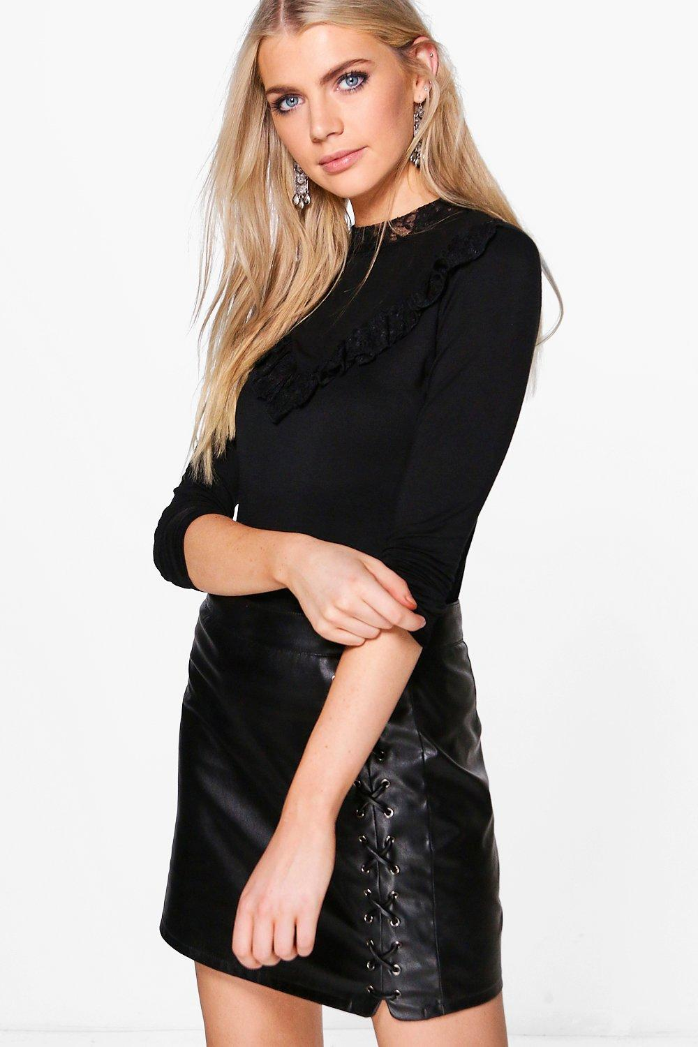 Alexis Lace Frill High Neck Top