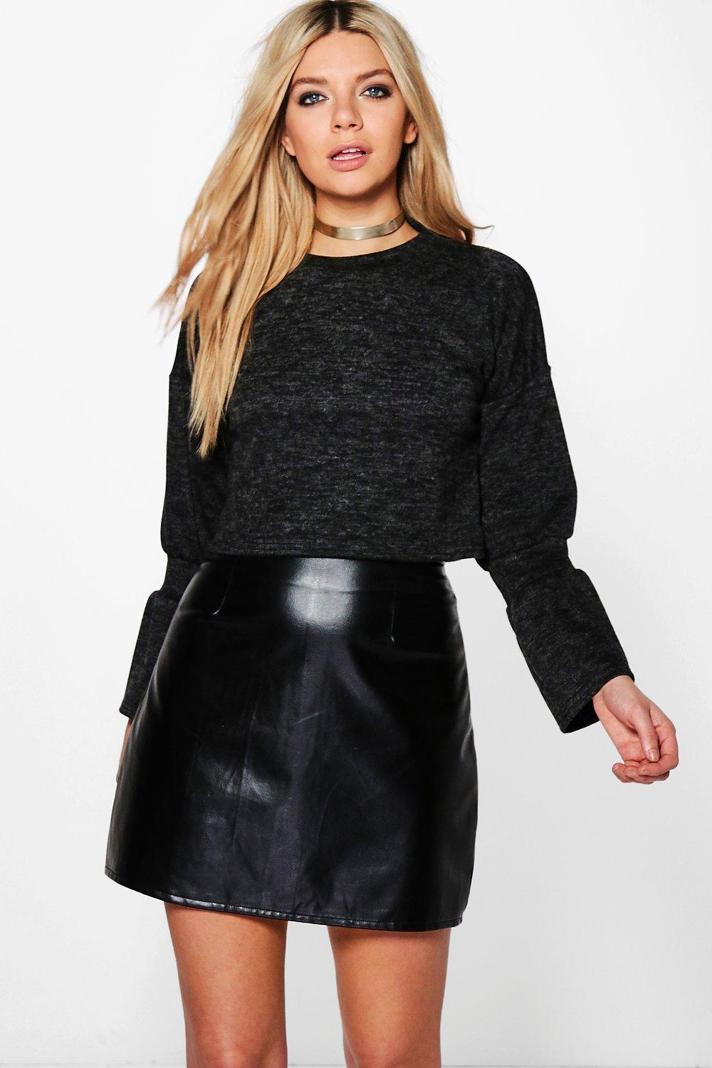 Flare Sleeve Crop Sweat - black