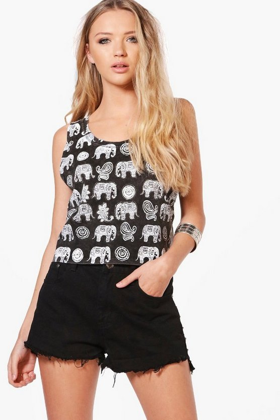 Adrianna All Over Elephant Print Embellished Vest