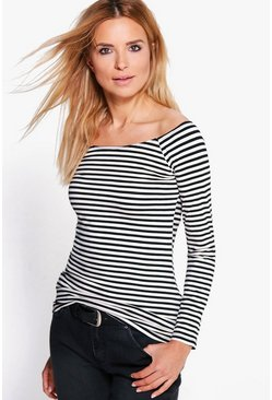Xenia Multi Stripe Off The Shoulder Top