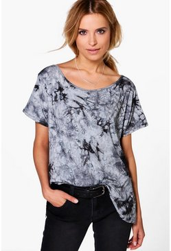 Angie Tie Dye Slash Neck T-Shirt