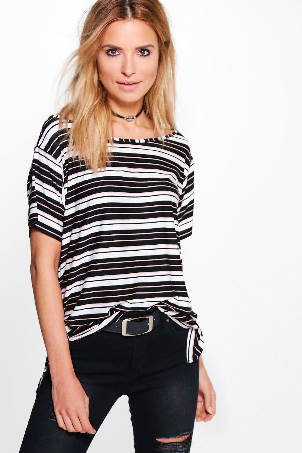 Alyssa Mixed Stripe Slash Neck T-Shirt