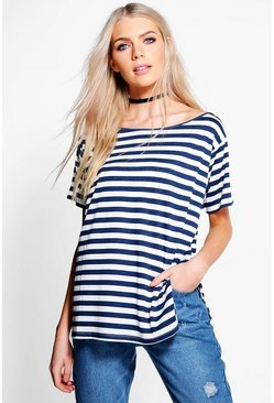 Louisa Stripe Slash Neck T-Shirt