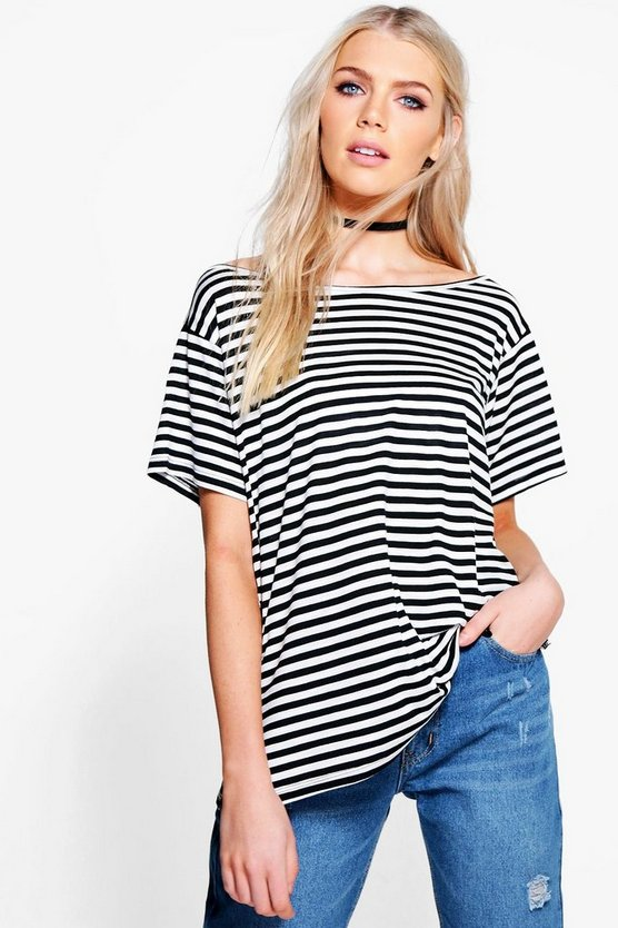 Elizabeth Stripe Slash Neck T-Shirt