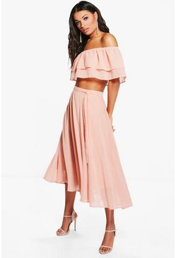 Leah Ruffle Off The Shoulder Skater Woven Co-Ord