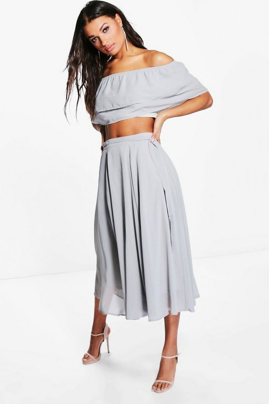 Ruffle Off The Shoulder Skater Woven Co-Ord