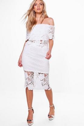 Isla Boarder Lace Off The Shoulder Skirt Co-Ord