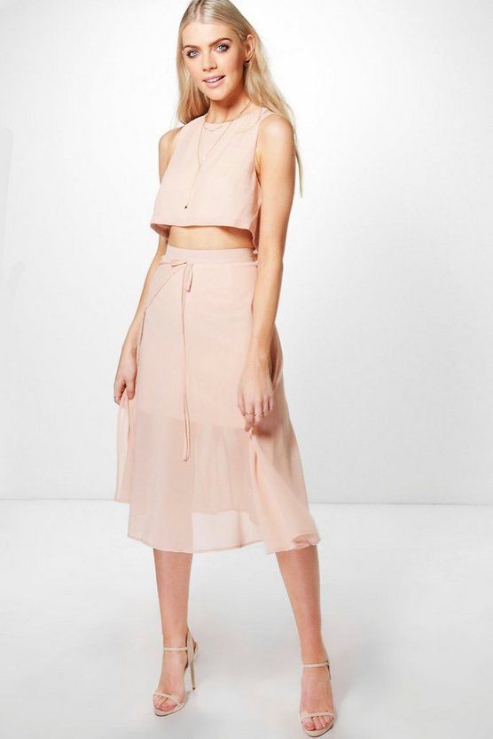 Stacey Woven Crop & Wrap Midi Skirt Co-Ord