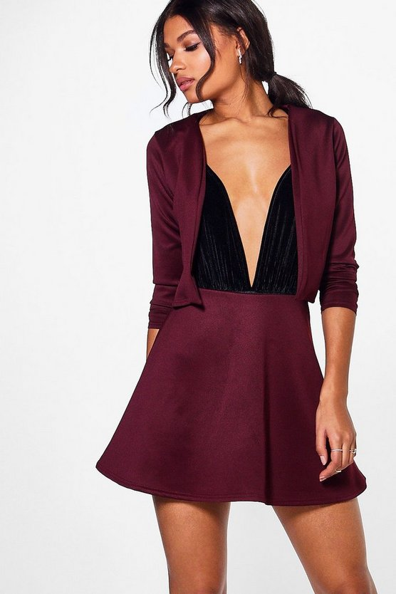 Sinead Scuba Crop Jacket & Mini Skirt Co-Ord