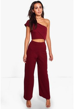 Harlow One Shoulder Crop & Wide Leg Co-Ord Set