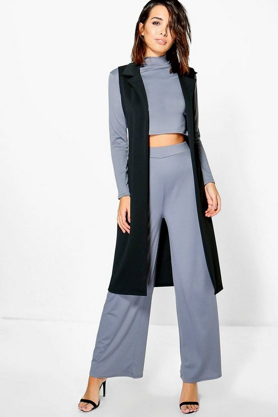 Cheska 3PC Roll Neck Trouser Duster Co-Ord