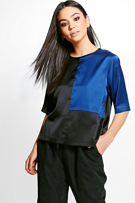 Clara Colourblock Satin Shell Top