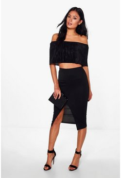 Sheeva Pleated Bandeau Crop & Midi Skirt Co-Ord