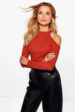 Kelly Cold Shoulder High Neck Ribbed T-Shirt