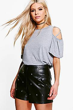 Faye Cold Shoulder Strappy T-Shirt