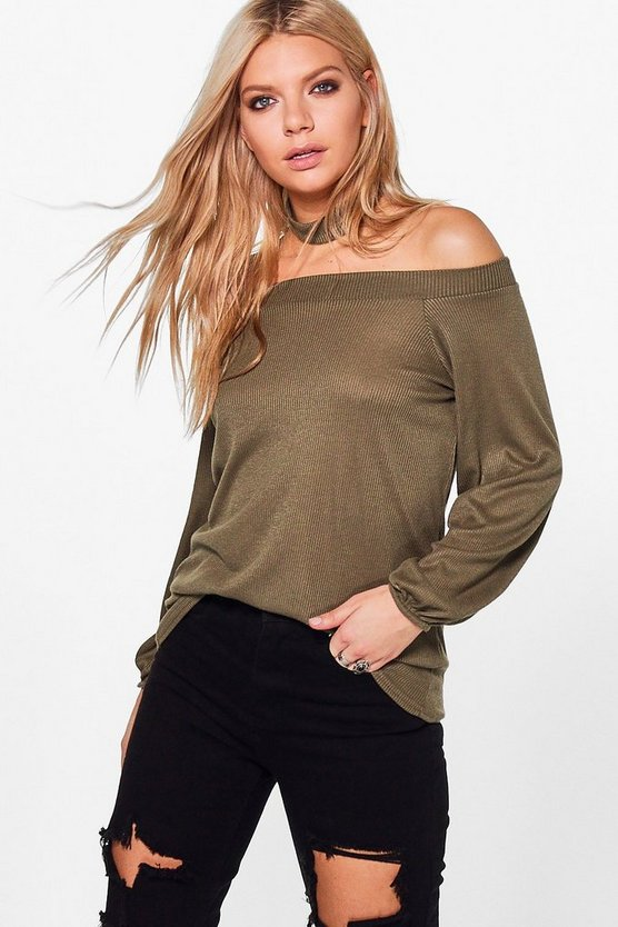Darcy Rib Off The Shoulder Top With Choker