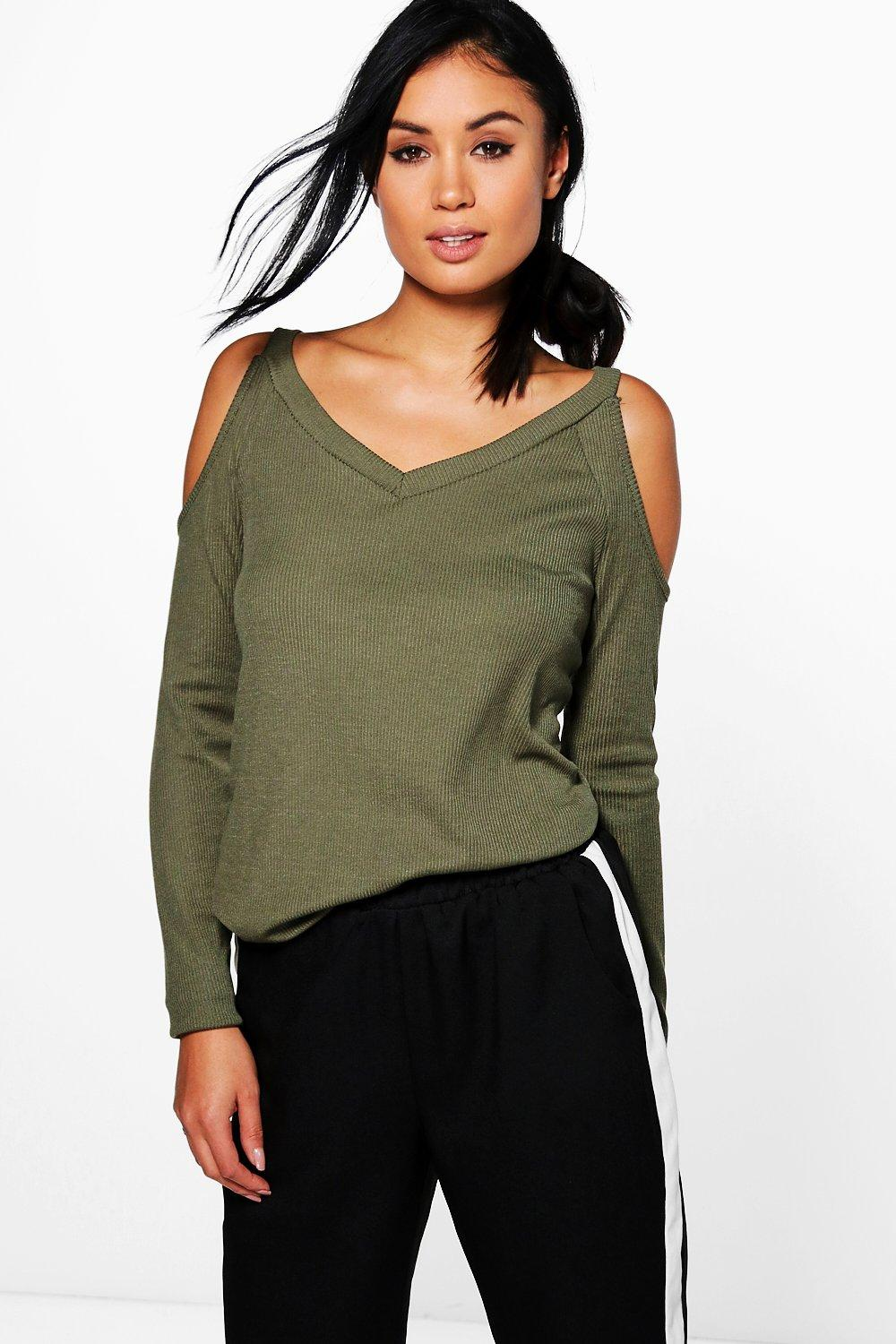 Katie Rib Cold Shoulder Long Sleeve Top