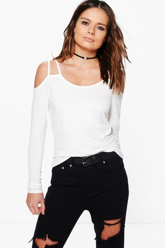 Mila Long Sleeve Cold Shoulder Strappy Top
