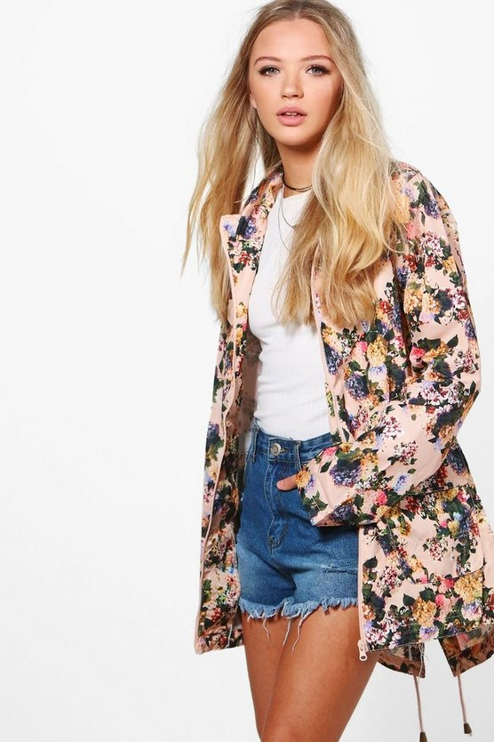 Eleanor Floral Mac With Detachable Hood
