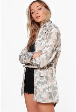 Rebecca Camo Mac With Detachable Hood