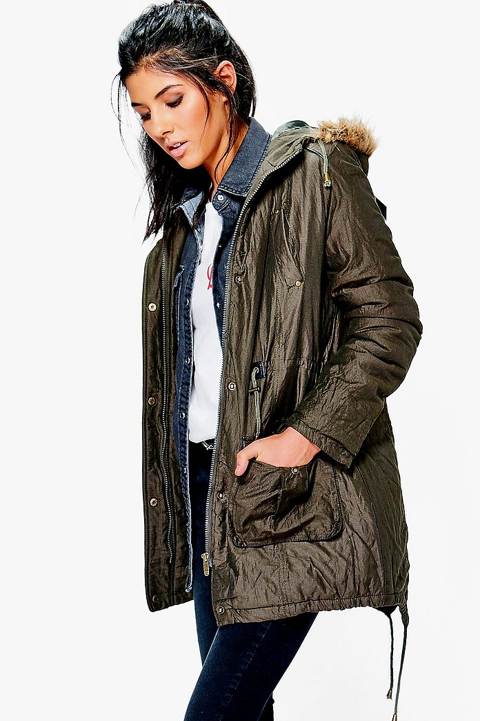Heidi Fishtail Parka With Fixed Faux Fur Trim