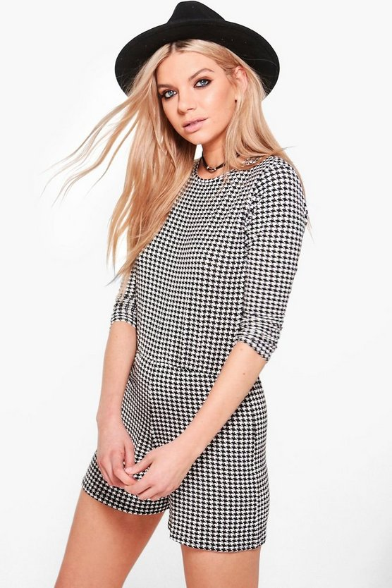 Anii Round Neck Three Quarter Sleeve Dogtooth Playsuit