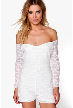 Jenny Off The Shoulder Lace Playsuit
