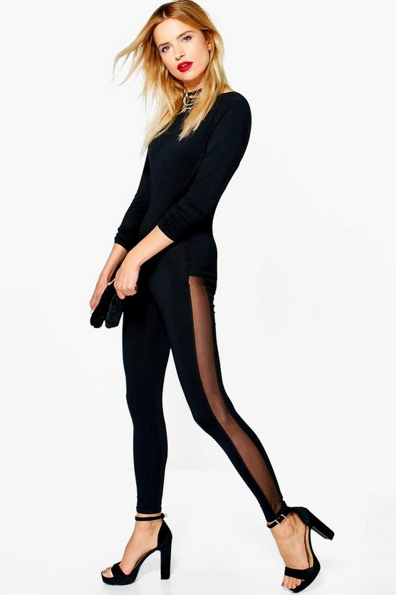 Lucy Mesh Insert Body Stocking Jumpsuit
