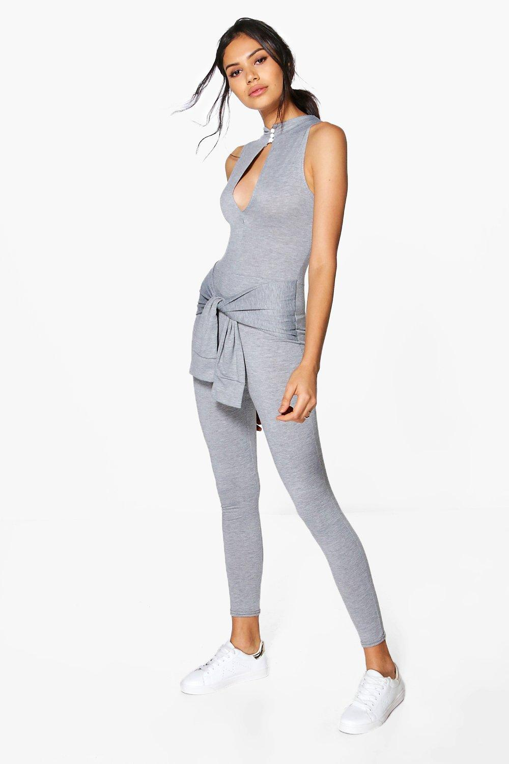 Sally High Neck Tie Detail Jumpsuit