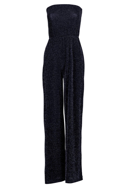 Beth Strapless Wide Leg Sparkle Jumpsuit at boohoo.com