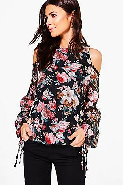 Lucy Lace Trim Open Shoulder Floral Blouse