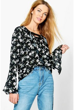 Hannah Floral Lace Up Blouse