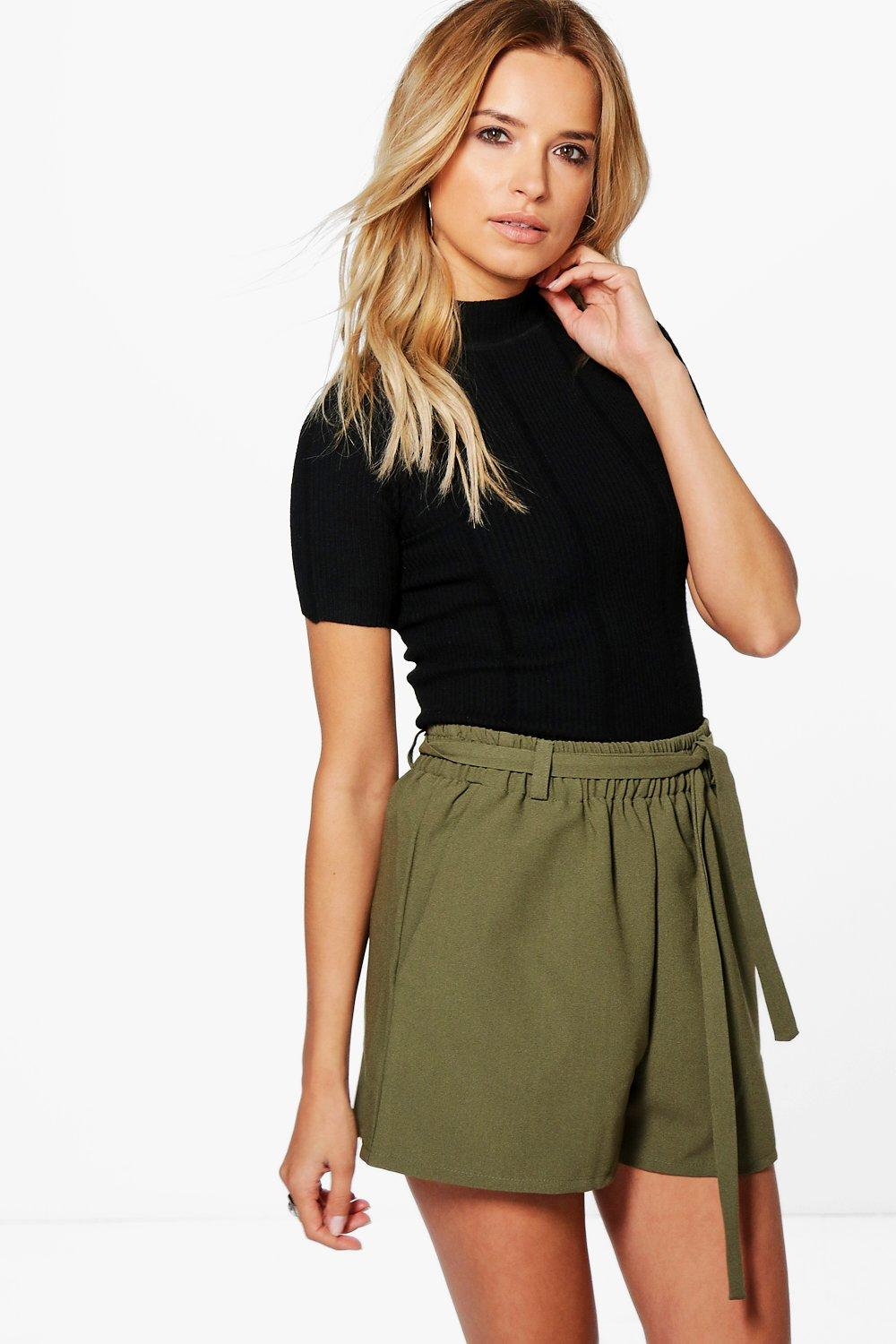 Tie Waist Tailored Shorts  khaki