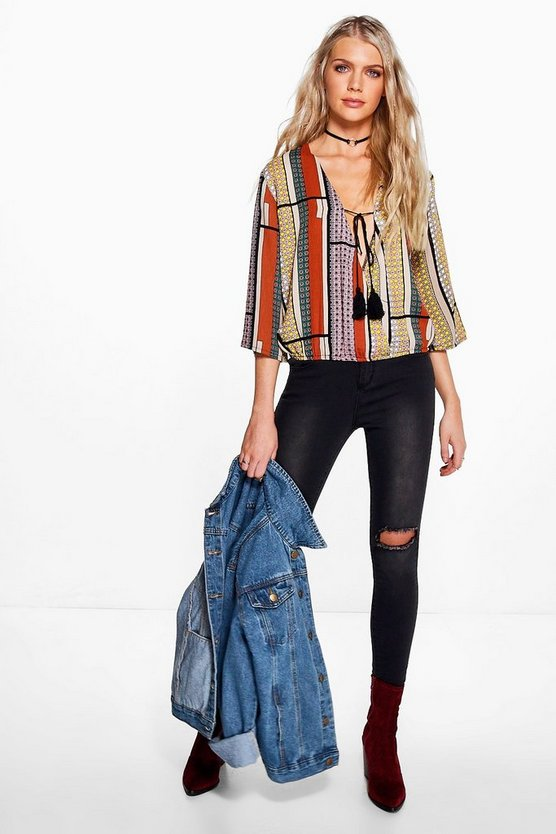 Wendy Wrap Front Printed Tassel Blouse